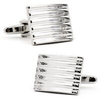 High Quality Mens Silver Stripe Steel Rectange Wedding Cufflinks