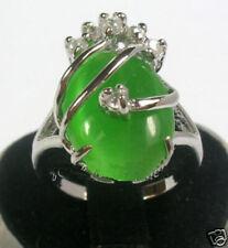 Ladies 18K Gold Plated Green Jade Ring Ladies Jewelry Gift