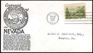 US FDC, SC#999, Genoa NV, Settlement of Nevada,cent. Anderson Cachet, 1951