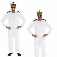 Adults Sailor Captain Costume Mens Navy Officer Fancy Dress Uniform 80s Outfit