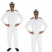 Adults Sailor Captain Costume Mens Navy Officer Fancy Dress Uniform 80s Outfit