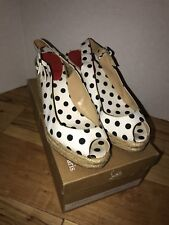 Christian Louboutin Pumps Wedge Espadrille Open Toe Polka Dot Black White 39