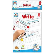 Learn to Write Writing Reading 20 A5 Wipe Clean Worksheets Pen Educational