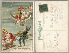 NEW YEAR ANTIQUE POSTCARD DWARFS GNOMES w/ PLAYING CARDS MONEY BAGS on HALF MOON