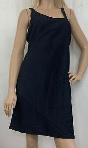 Newport News  Easy Style Sheath Dress Black Ribbed Stretch Asymmetrical Size 18