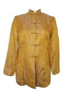 Shanghai Tang Gold Silver Silk Jacket Size 4 Mandarin Collar Frog Button Vintage
