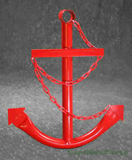 Red Anchor Wall Yard Art Decor 2' Metal Outdoor Nautical Ship's Decorative USA