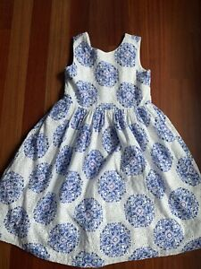 EUC Janie and Jack Santorini Suite Eyelet Blue And White Dress Size 10