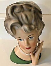 Vintage Ardco C1545 Green Top Pearls Lady Head Vase