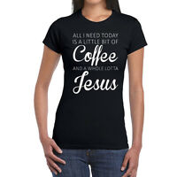 All I Need Is Coffee And Jesus LADIES T-Shirt, Christian Funny Humor Mascara Tee