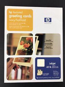 HP Textured Greeting Cards Ivory Half-fold 65lb Inkjet 20 Cards & Envelopes