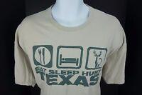 XL Eat Sleep Hunt Texas Tee Road Sign Tan T Shirt TX Deer