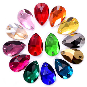 100pcs Teardrop Colour Glass Rhinestone Sew On Crystal Jewels Flatback Beads