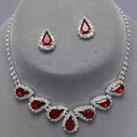 Red jewellery set crystal diamante teardrop necklace set proms bridal  0271