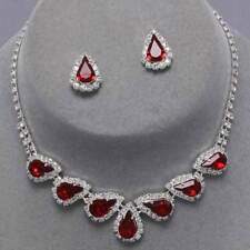 Red Rhinestone Crystal Teardrop Necklace Earrings Set Brides Proms Sparkly 0271