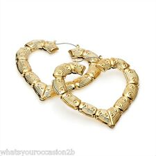 New Large Gold Bamboo Creole Heart Earrings 7.5cm ER28928