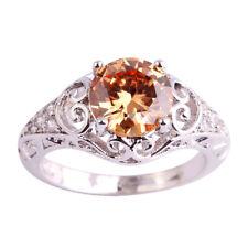 Round Cut Morganite White Topaz Gemstone 925 Silver Ring Size 11 Women Jewelry