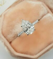 2.60 TCW Pear Cut DVVS1 Diamond 5 Prong Engagement Ring In 14K White Gold Finish