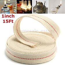 1'' 15ft 4.5m Roll Replacement White Flat Cotton Wick For Oil Lamps Lanterns