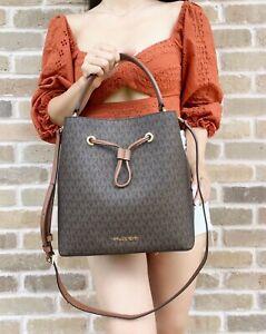 Michael Kors Suri Large Bucket Messenger Bag PVC Leather MK Signature Brown