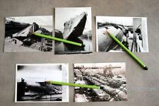 CES 10 PHOTOS LE PAQUEBOT NORMANDIE INCENDIE  PORT DE NEW YORK (reproductions).