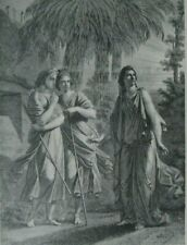 """Antique Engraving, """"Portia at the Grave of the Messiah"""", From Antique Art Journa"""
