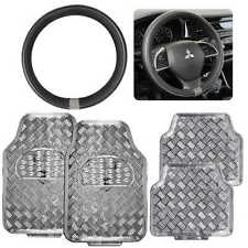 Shiny Silver Metallic Rubber Vinyl Floor Mat & Faux Leather Steering Wheel Cover