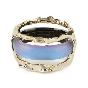 Alexis Bittar Iridescent Iris Lucite Wide Stacked Crumpled Bangle Bracelet NWT
