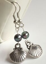 Silver Black Pearl Sea Life Shell Earrings Plated Pierced Island Beach Nautical