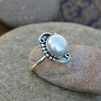 Cultured South Sea Pearl  Gemstone 925 Sterling Silver Stackable Ring  Size 8