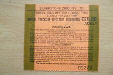 Ticket- 1988 SHELL OILS BRITISH GRAND PRIX~Special Trackside SpectatorEnclosures