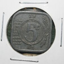 1942 HOLLAND - NEDERLANDS - 5 CENTS - WWII SQUARE ZINC COIN - HIGH GRADE