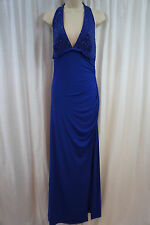 Laundry by Shelli Segal Dress Sz 10 Bali Blue V Neck Formal Cocktail Party Gown