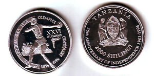 Rare 1996 Tanzania Aluminum 2000 shilling Olympic Discus T1-Mintage 100