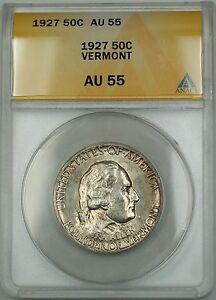 1927 Vermont Commemorative Silver Half Dollar 50c Coin ANACS AU-55
