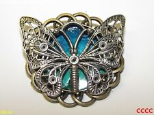 steampunk brooch badge pin blue green silver butterfly