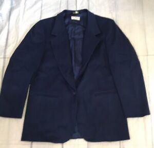 LL BEAN  Wool Cashmere 1 Button Blazer Jacket Women's Size 16 Navy Blue USA Made