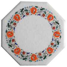 """15""""x15"""" Marble Inlay Work Table Top Work Home Decor"""