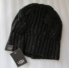 UGG Hat Crochet Cable Knit Black NEW