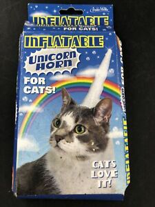 Inflatable Unicorn Horn for Cats White Vinyl Pet Costumes By Archie McPhee
