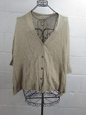Michael Kors Tan Beige Gold Button Drapey Short Sleeve Cardigan Sweater L / XL