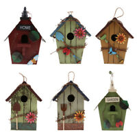 6 Pz Country Cottages Legno Bird House Hanging Birdhouse Condo Garden Decor