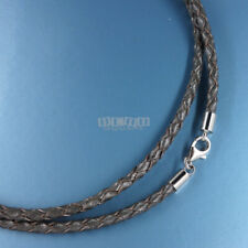 """25"""" Sterling Silver 3mm Gray Round Braided Genuine Leather Cord Necklace Lobster"""
