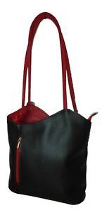 Echt Leder Designer Handtasche Black and Red - Rucksack und Handtasche