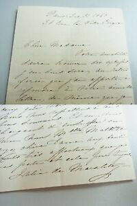 """French Letter Paris 1860,Signed """" De Marcoleta """" (Woman Ambassador Of"""