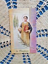 "NEW ""ST STEPHEN"" LAMINATED Gold Imprinted Detail Prayer card Lot/5 *BEAUTIFUL*"