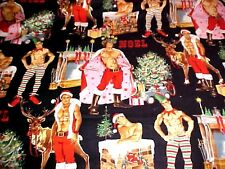 Fabric Christmas PIn Up Men Sexy Elf Hunks HURRY DOWN CHIMNEY Black Henry YARD