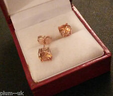 Classic round champagne topaz 7mm ROSE GOLD filled stud earrings BOXED Plum UK