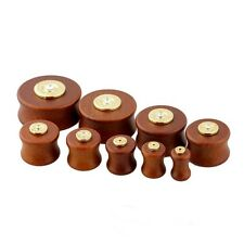 "PAIR-Wood w/Colt 45 Bullet Double Flare Plugs 16mm/5/8"" Gauge Body Jewelry"