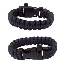 Paracord Parachute Cord Bracelet  Wristband Emergency Survival Camping Black